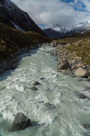 Mountain landscape with river, New Zealand Stock Photo