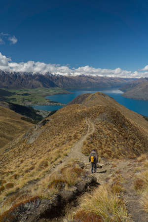 Hiking. Mountain trail in New Zealand near Queenstown Stock Photo