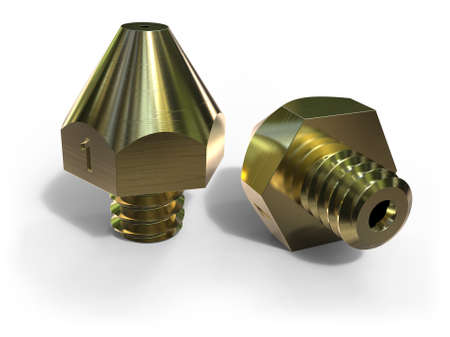 Extruder nozzles for 3D printer isolated on white