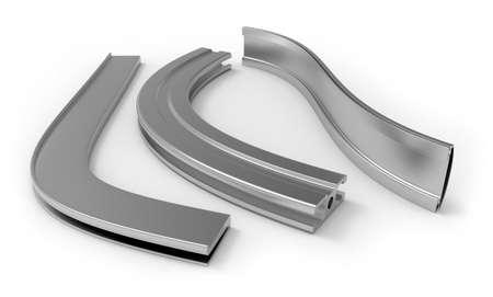 Curved aluminum profile 写真素材