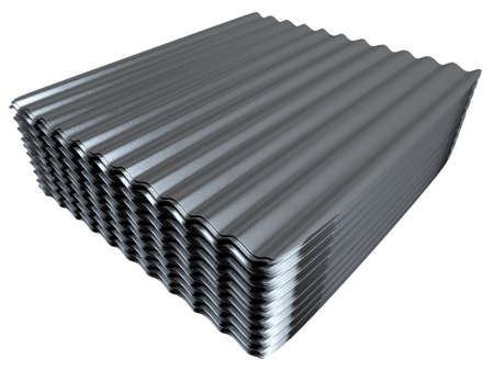 Stack of corrugated metal sheets Stock Photo