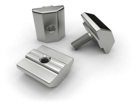 Aluminum profile accessories (t-nuts, t-bolts) Stockfoto