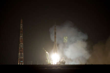 Soyuz space rocket launches from Baikonur Cosmodrome