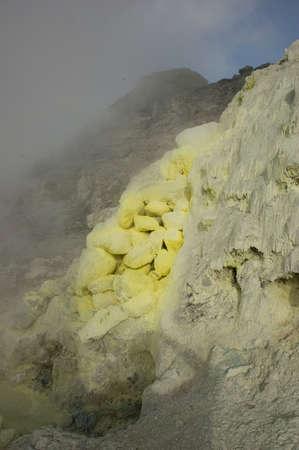 Sulphur deposit near vulcano. Sumatra, Indonesia