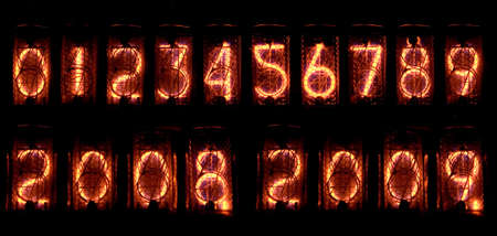 Digits on vintage vacuum tube display of calculator Stock Photo