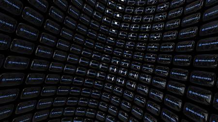 Array of TV CRTs (displaying world news) Banco de Imagens