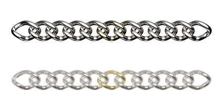 Silver chains with one golden link (isolated on white)