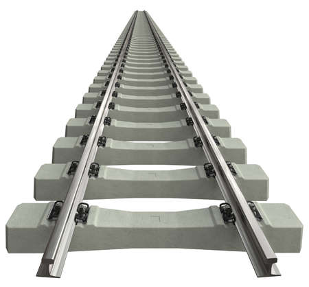 Rails avec traverses en béton isolated on white