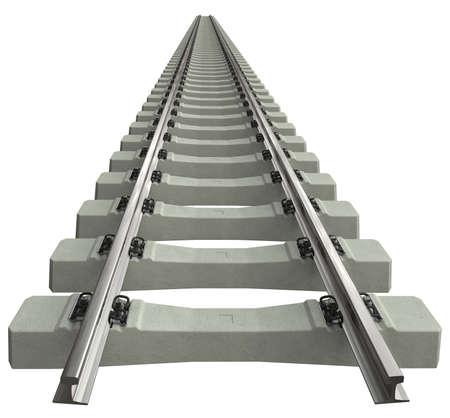 Rotaie con traversine in cemento isolate su bianco