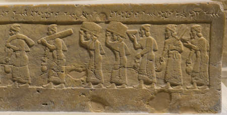 Gravure op de troon van koning Salmaneser III, Irak