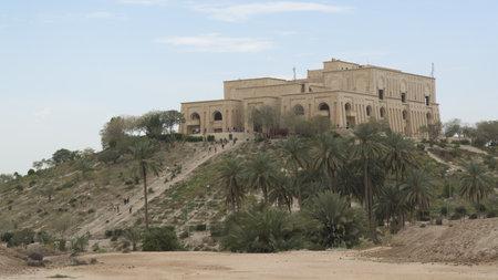 Saddam Husseins palace in Babylon city, Iraq Редакционное