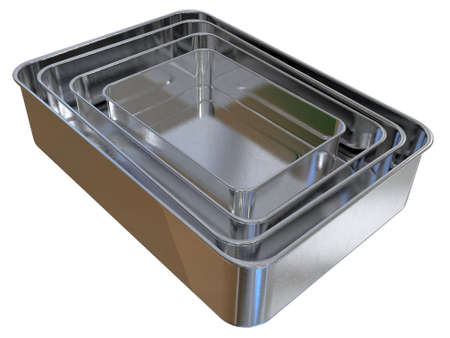 Medical stainless steel trays isolated on white