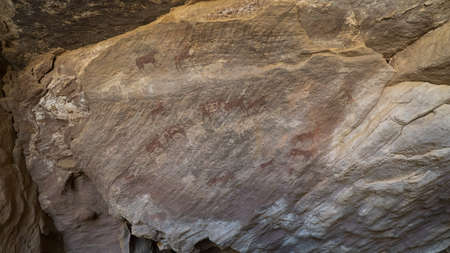 Ancient rock art in Sahara Desert, Algeria