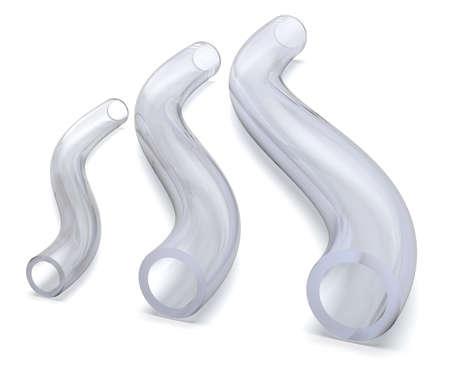 Flexible silicone tubing isolated on white