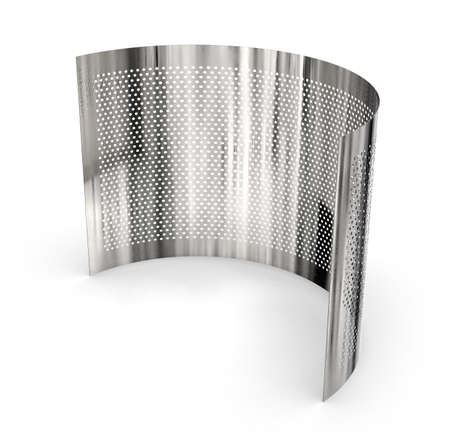 Perforated metal mesh sheet isolated on white