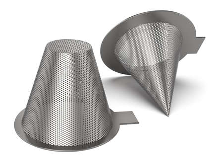 Perforated temporary filters isolated on white