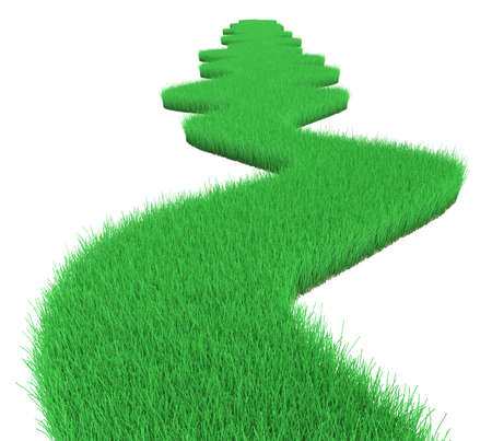 Curved green grass road isolated on white