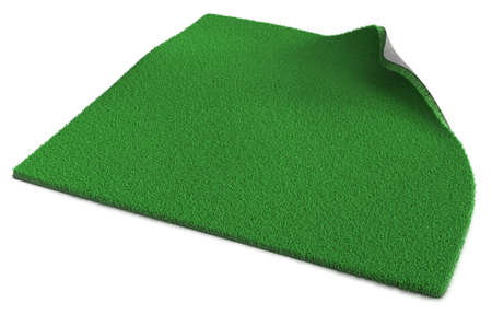 Artificial green grass isolated on white