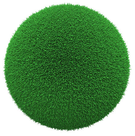 Sphere covered with green grass isolated on white Фото со стока