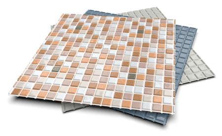Plastic vinyl tile backsplash isolated on white