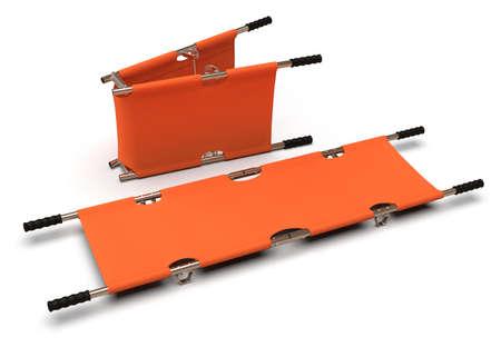 Foldable emergency stretcher isolated on white