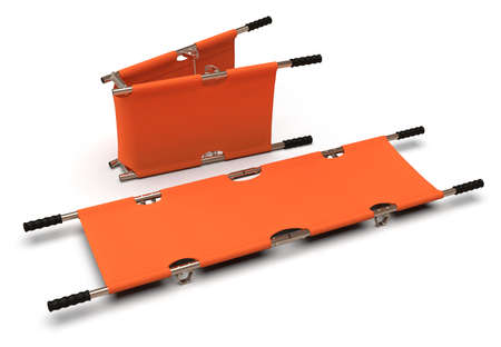 Foldable emergency stretcher isolated on white Фото со стока