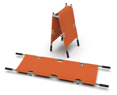 Foldable emergency stretcher isolated on white Stockfoto