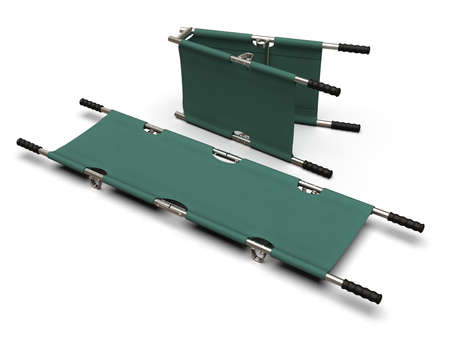 Foldable emergency stretcher isolated on white Reklamní fotografie