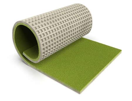 Athletic track flooring isolated on white