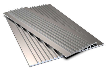 Extruded aluminum profile for enclosures isolated on white Фото со стока