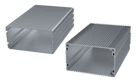 Extruded aluminum enclosures isolated on white Фото со стока