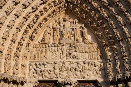 eacute: Anteriore af Cattedrale di Notre-Damr & eacute, drale a Parigi, Francia Archivio Fotografico