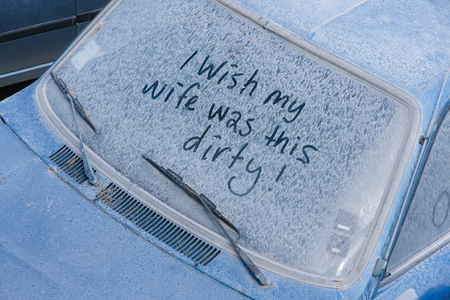 dirty car: The dirty car with funny text.