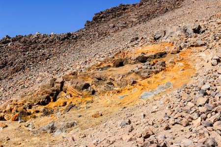 Volcano teide in tenerife island is still in activity, sulfur deposition on the rock