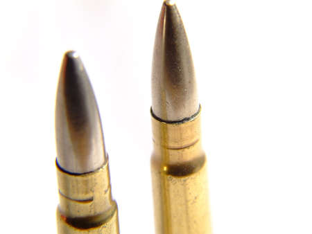 WWII Bullets on white Stock Photo