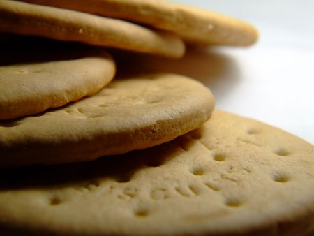 Some round biscuits close up