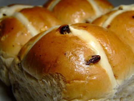 four easter hot x buns Stock Photo