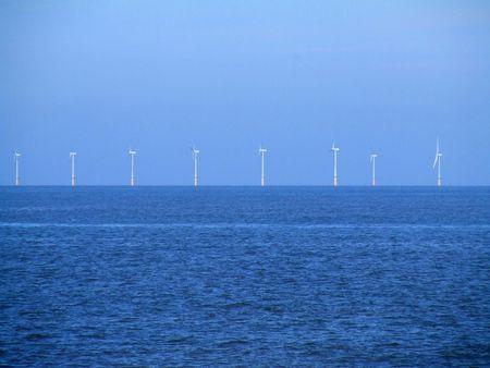Wind turbines off coastline Stock Photo - 861625