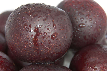 Some lovely fresh deep colour plums.  Fresh with a nice tasty shine.