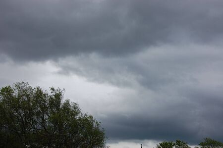 a cloudy overcast sky line, with thunder clouds and trees in forground area