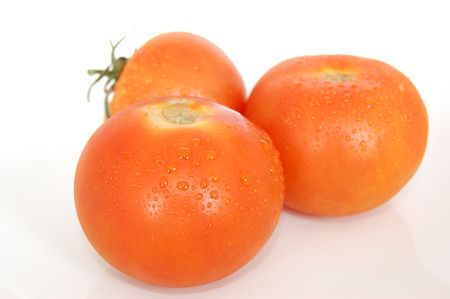Some healthy red tomatoes on a white back drop setting. Stock Photo