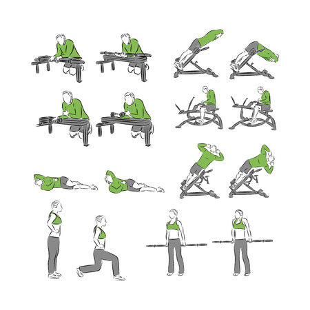 pumping: Set of systematic bodybuilding exercises Illustration