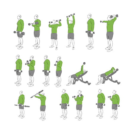Set of systematic bodybuilding exercises Illustration