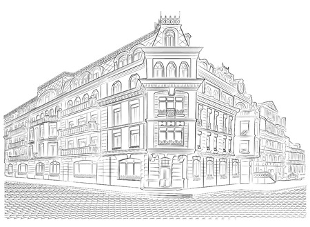 Detailed old buildings on the street corner vector drawing
