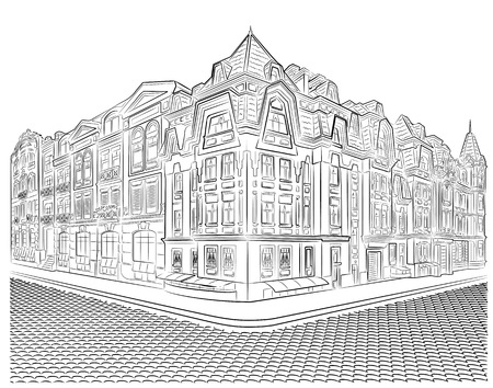 detailed image: Detailed old buildings on the street corner vector drawing