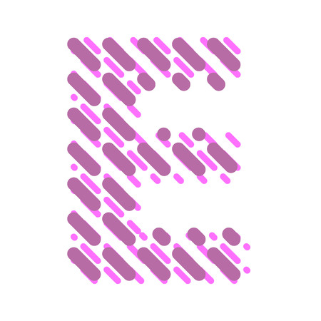 Striped latin alphabet. Letter E from lines hatching dotted decorative font