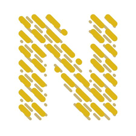 Striped latin alphabet. Letter N from lines hatching dotted decorative font