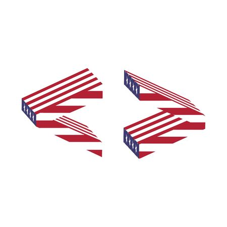 greater: Letter greater less than from 3d with American flag texture wrapped. Volume USA font