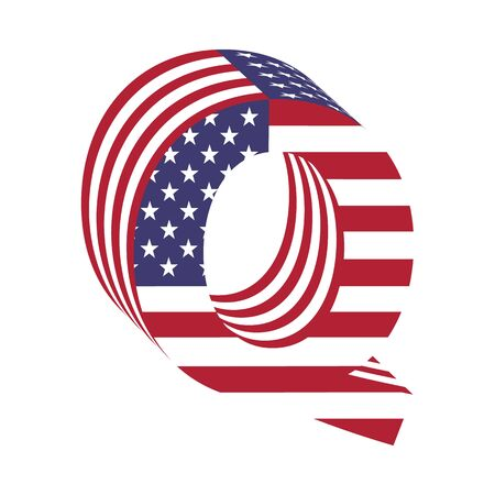 Letter Q from 3d with American flag texture wrapped. Volume USA font