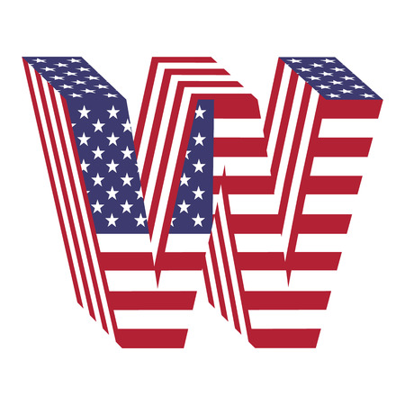 Letter W from 3d with American flag texture wrapped. Volume USA font
